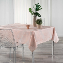 Nappe anti tache 150 x 240 cm imprime metallise veggy Rose/or Rose