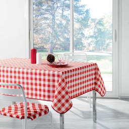 Nappe carree 180 x 180 cm polyester imprime vichy Rouge