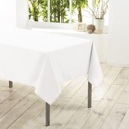 Nappe carree 180 x 180 cm polyester uni essentiel Blanc