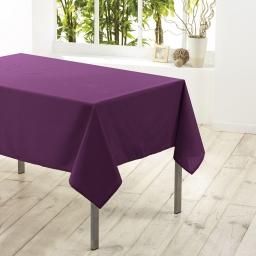 Nappe carree 180 x 180 cm polyester uni essentiel Prune