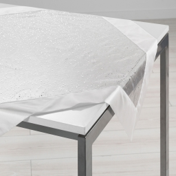 Nappe carree 85 x 85 cm organza imprime+satin festille Blanc