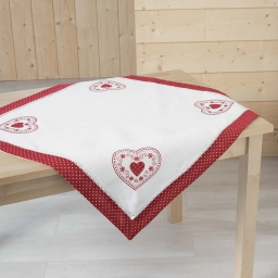 Nappe carree 85 x 85 cm polyester brode monlisa Rouge