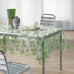 nappe cristal rectangle 140 x 240 cm pvc imprime 14/100e bambou