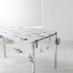 nappe cristal rectangle 140 x 240 cm pvc imprime 14/100e cactus spirit