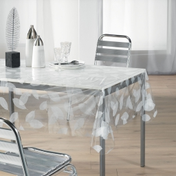 Nappe cristal rectangle 140 x 240 cm pvc imprime 14/100e feuille Blanc