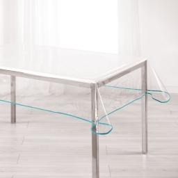 Nappe cristal rectangle 140 x 240 cm pvc uni 15/100e garden/biais Aqua