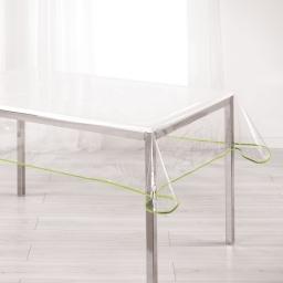 Nappe cristal rectangle 140 x 240 cm pvc uni 15/100e garden/biais Menthe