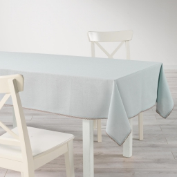 Nappe rectangle 140 x 240 cm coton uni+dentelle femina Bleu