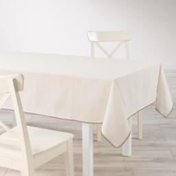 Nappe rectangle 140 x 240 cm coton uni+dentelle femina Naturel