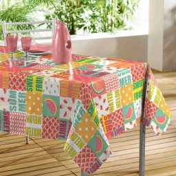 nappe rectangle 140 x 240 cm en toile cirée pvc sweet fruit