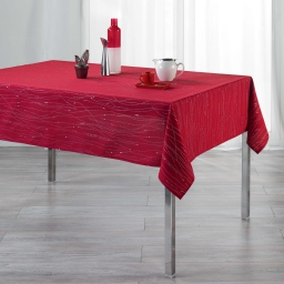 Nappe rectangle 140 x 240 cm polyester applique filiane Rouge