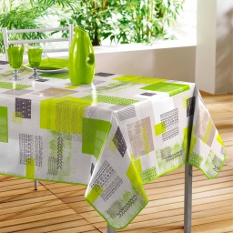 Nappe rectangle 140 x 240 cm pvc imprime carrea Vert