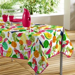 nappe rectangle 140 x 240 cm pvc imprime fruits exotiques