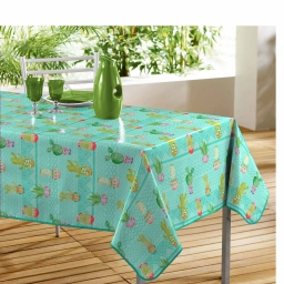 Nappe rectangle 140 x 240 cm pvc imprime melocactus Bleu
