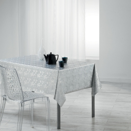Nappe rectangle 140 x 240 cm pvc imprime metallise luny Blanc