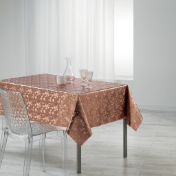 Nappe rectangle 140 x 240 cm pvc imprime metallise luny Rose