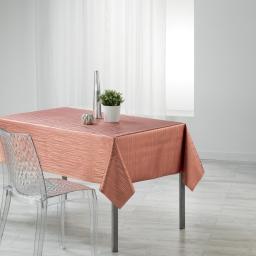 Nappe rectangle 140 x 240 cm pvc imprime metallise wavy Rose