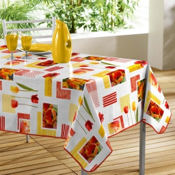 nappe rectangle 140 x 240 cm pvc imprime passion tulipes