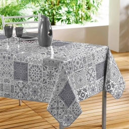 Nappe rectangle 140 x 240 cm pvc imprime persane Gris