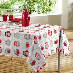 Nappe rectangle 140 x 240 cm pvc imprime super chouette Rouge