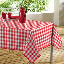 Nappe rectangle 140 x 240 cm pvc imprime vichy Rouge