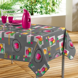 Nappe rectangle 140 x 240 cm pvc photoprint gourmand Gris