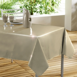 Nappe rectangle 140 x 240 cm pvc uni laque glossy Beige