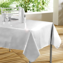 Nappe rectangle 140 x 240 cm pvc uni laque glossy Blanc