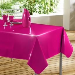 Nappe rectangle 140 x 240 cm pvc uni laque glossy Fuchsia