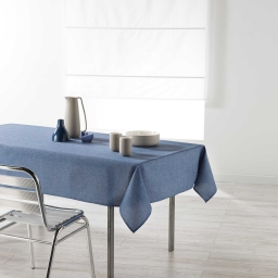 Nappe rectangle 140 x 250 cm chambray uni enduit newton Bleu