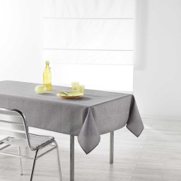 Nappe rectangle 140 x 250 cm chambray uni enduit newton Gris