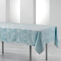 Nappe rectangle 140 x 250 cm jacquard damasse calice Bleu