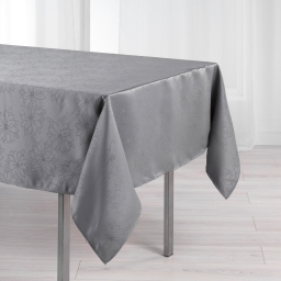 Nappe rectangle 140 x 250 cm jacquard damasse elia Gris
