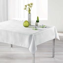 Nappe rectangle 140 x 250 cm jacquard ondelina Blanc