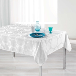 Nappe rectangle 140 x 250 cm jacquard rose des vents Blanc