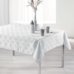 Nappe rectangle 140 x 250 cm jacquard tivolina Blanc