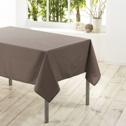 Nappe rectangle 140 x 250 cm polyester uni essentiel Taupe