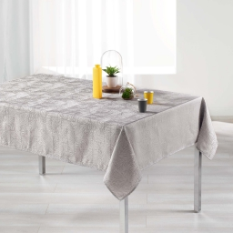 Nappe rectangle 140 x 300 cm jacquard alisson Perle