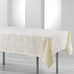 Nappe rectangle 140 x 300 cm jacquard damasse calice Naturel