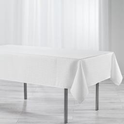 Nappe rectangle 140 x 300 cm jacquard damasse maillon Naturel