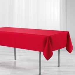 Nappe rectangle 140 x 300 cm jacquard damasse maillon Rouge