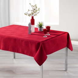 Nappe rectangle 140 x 300 cm jacquard ondelina Rouge