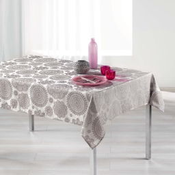 Nappe rectangle 140 x 300 cm jacquard rose des vents Perle