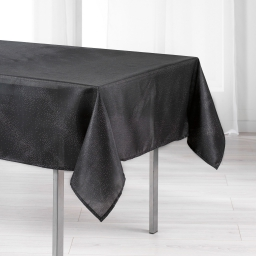 Nappe rectangle 140 x 300 cm shantung applique scintille Noir