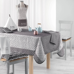 Nappe rectangle 150 x 200 cm fils coupes imprime lucie Gris