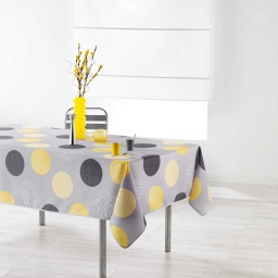 Nappe rectangle 150 x 200 cm polyester imprime odaly Jaune