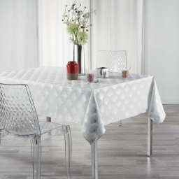 Nappe rectangle 150 x 240 cm anti tache Goldy  Blanc/argent