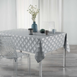 Nappe rectangle 150 x 240 cm anti tache Goldy  Gris/argent