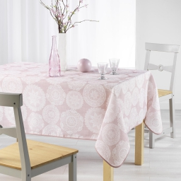 Nappe rectangle 150 x 240 cm fils coupes imprime anais Rose