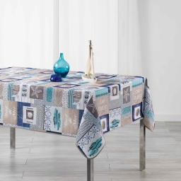 Nappe rectangle 150 x 240 cm fils coupes imprime cap ouest Bleu